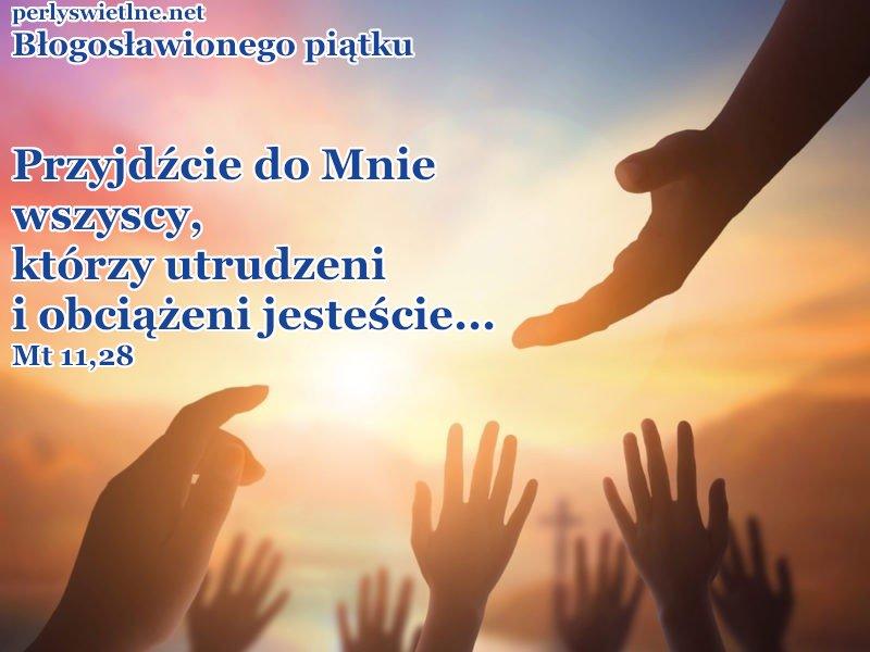 Przyjdźcie do Mnie wszyscy, którzy utrudzeni i obciążeni jesteście, a Ja was pokrzepię.