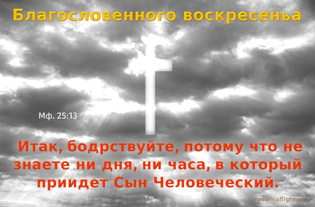 Итак, бодрствуйте, потому что не знаете ни дня, ни часа, в который приидет Сын Человеческий.